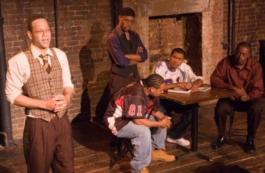 Truman Lofton, Pito Luzunaris, Deon Williams, Curtis Williams, Marvin Taylor in Antichrist Lament. Photo credit: NuAFrikan Theatre.