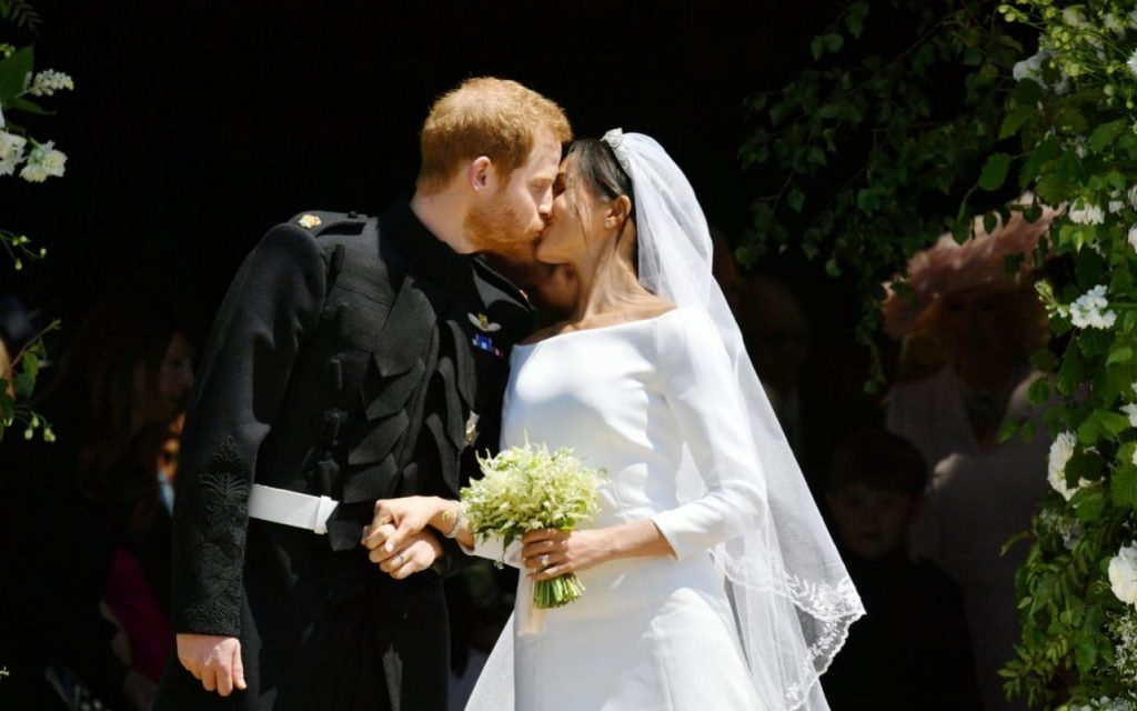 The Duke and Duchess of Sussex kiss on their wedding day