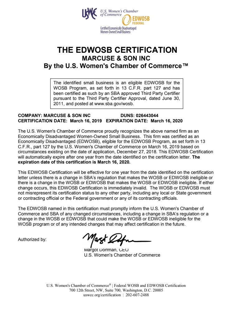 EDWOSB Certification | Marcuse & Son Inc  - Air Compressors