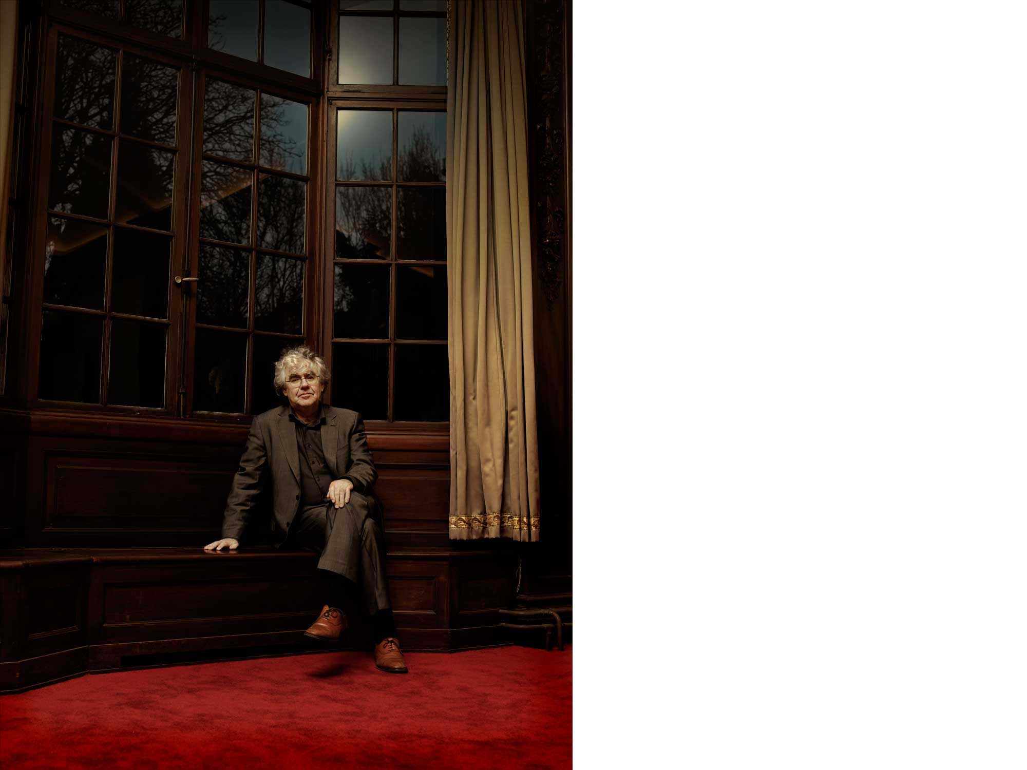 Portrait of Geert Mak, dutch writer, shot on location at his publishers office.