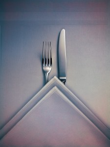 Fork; knife; napkin; table; cloth; citroën; car; bib gourmand; chevron; vork; mes; servet; tafel; tafelkleed; cutlery; bestek