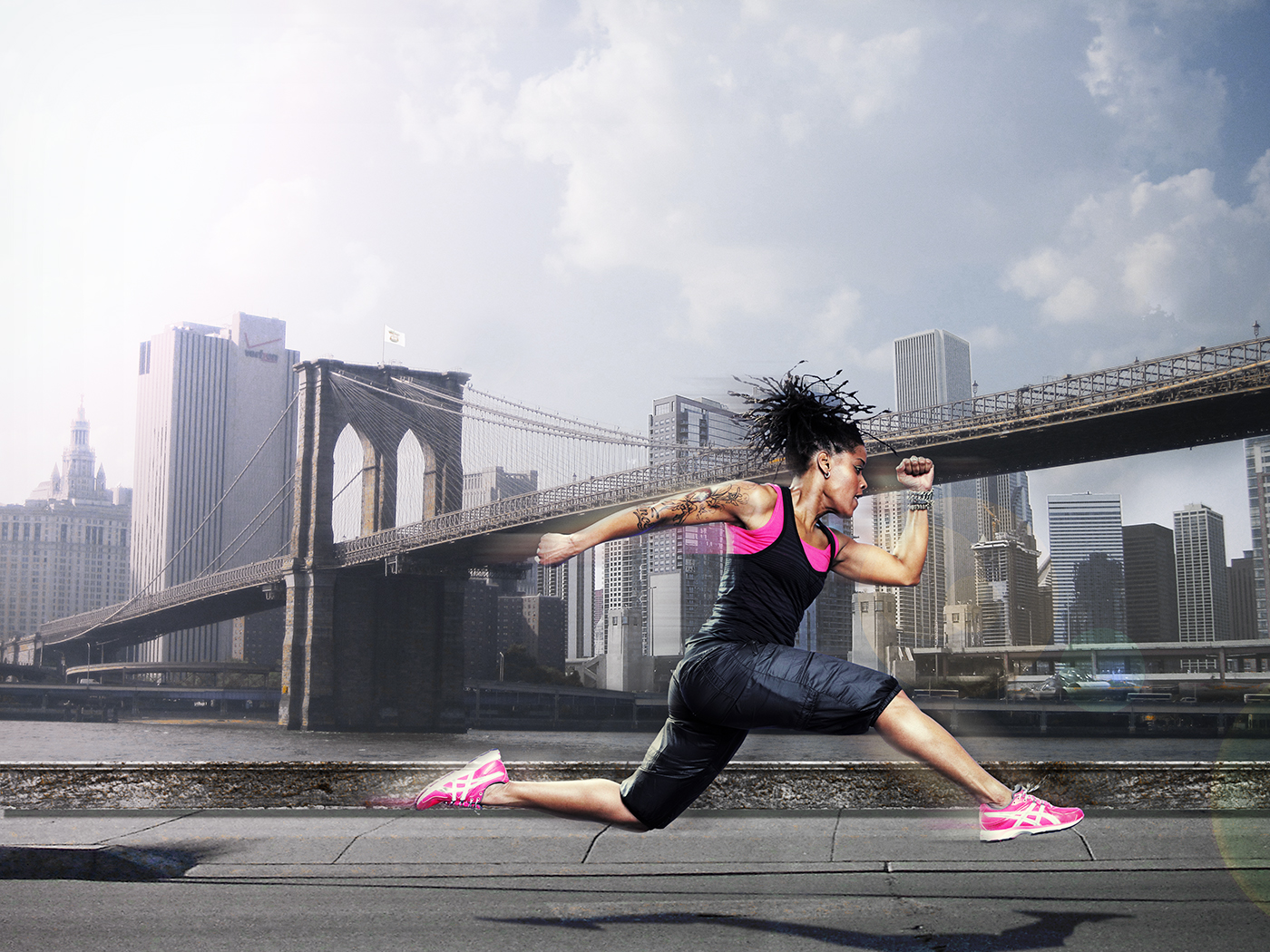 Het Klokhuis Dolores Leeuwin jumping pink running shoes New York