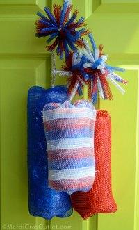 Deco Mesh fire crackers | Wreaths | Pinterest