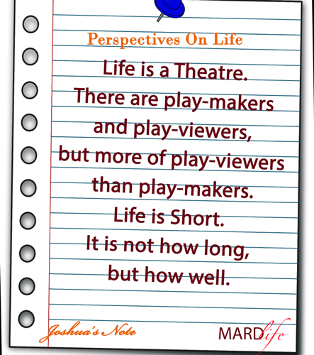 Perspectives On Life – JOSHUA'S NOTE