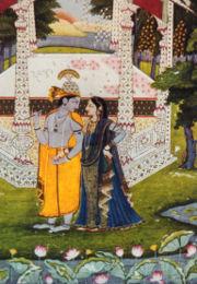 Krishna (left), the eighth incarnation (avatar) of Vishnu, with his consort Radha