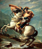 Napoleon Crossing the Alps, by Jacques-Louis David. Note the names of Hannibal, Charlemagne (Karolus Magnus), and Bonaparte in the rocks below