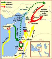 المماليك تحت إمرة بيبرس (بالأصفر) صدوا الصليبيين الفرنجة والمنغول أثناء الحملة الصليبية التاسعة.