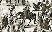 Persian Ambassador Mechti Kuli Beg during his entry into Kraków for the wedding ceremonies of King Sigismund III of Poland in 1605.