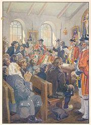 Illustration de la lecture de l'ordre de طرد الآكاديين par le colonel Winslow dans l'église de Grand-Pré
