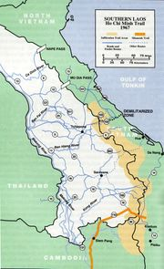 The Ho Chi Minh Trail running through Laos, 1967