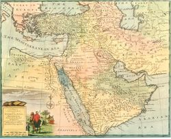 Safavid Persian Empire of Iran and Ottoman Empire of Turkey. A map by Emanuel Bowen between 1744-1752.