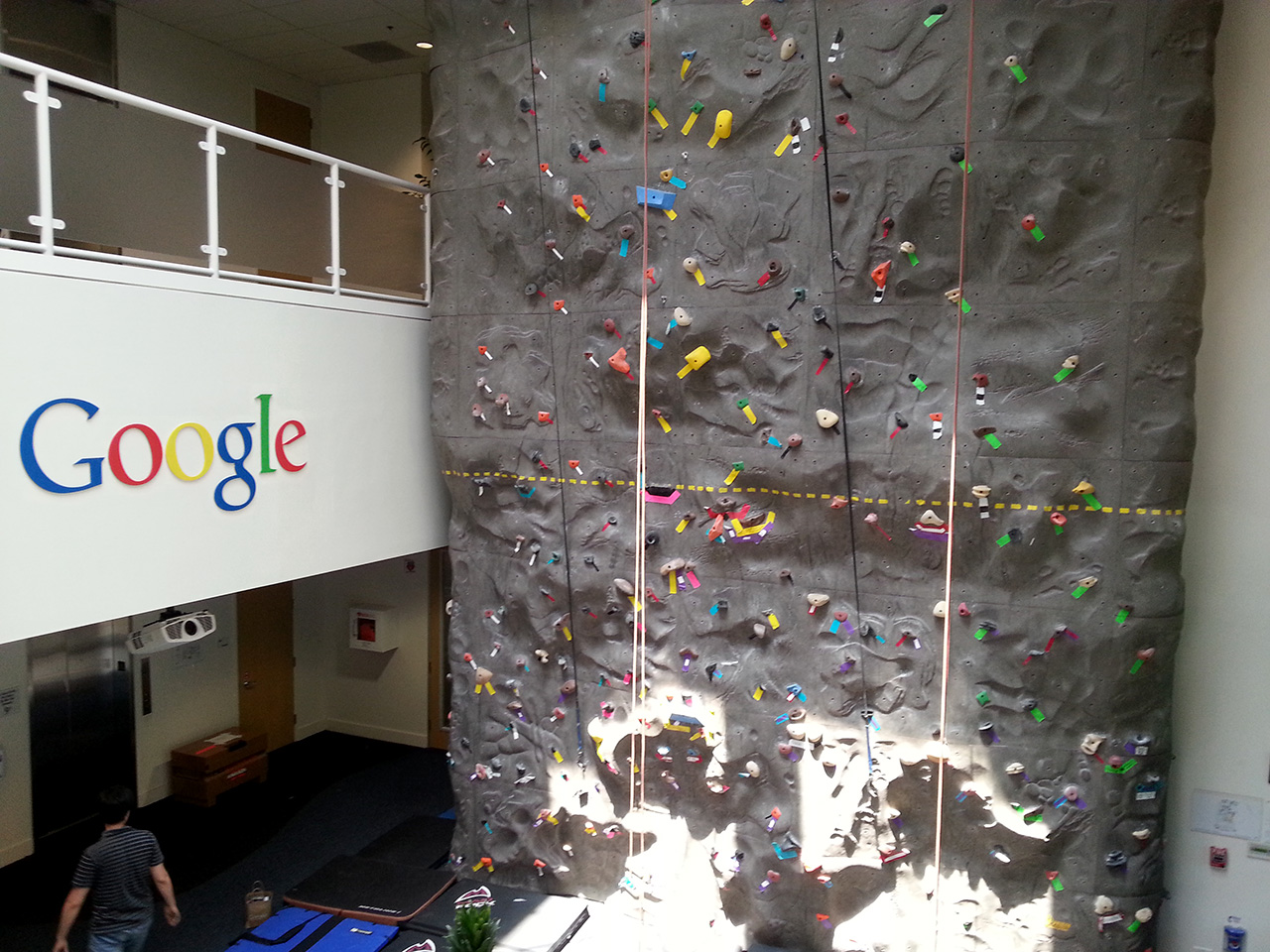 Small climbing wall in one of Google buildings I was totally not expecting this when I walked