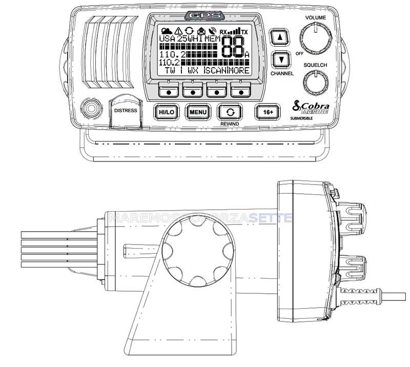 VHF FISSO MARINO COBRA MR F77BLACK EU GPS INCORPORATO