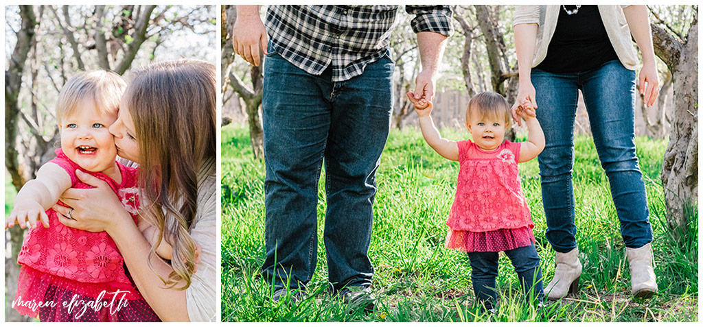 Family spring mini session at the provo orchard with a toddler. I love taking pictures of toddlers because of their wiggly energy and huge personalities. | Gilbert Family Photographer | Maren Elizabeth Photography
