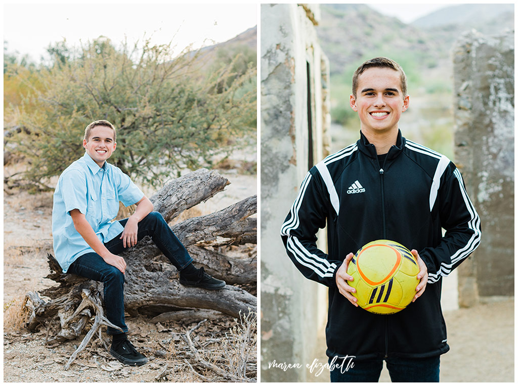 Senior pictures at Scorpion Gulch feature ghost town ruins and desert landscape all around for endless possibilities. Gilbert Photographer | Maren Elizabeth Photography