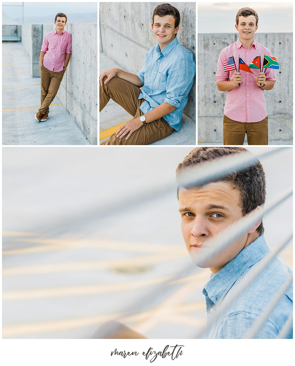 UVU boy senior pictures by Maren Elizabeth Photography taken on the top level of the Utah Valley University parking garage. | Arizona Senior Photographer