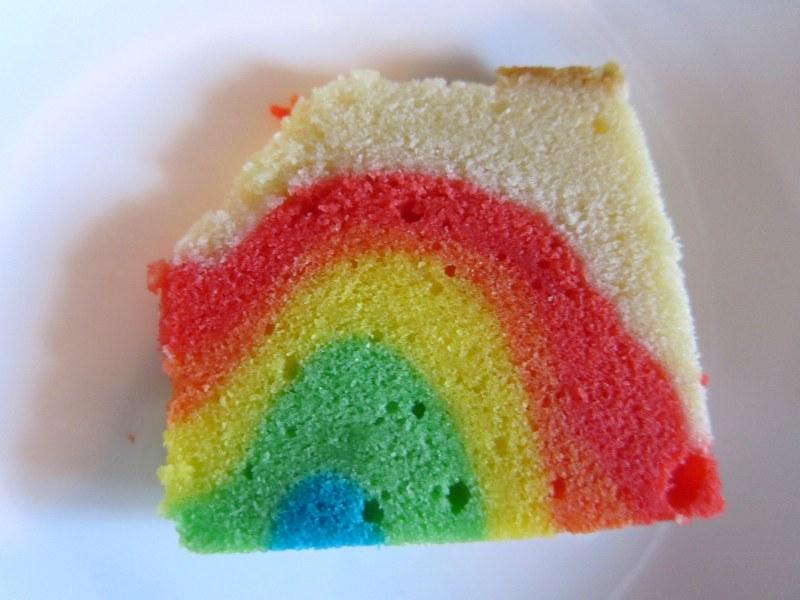 Making a rainbow cake