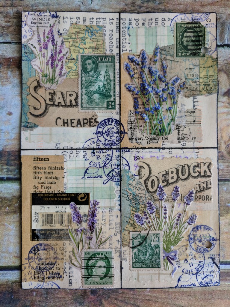 herb images, postage stamps and book pages spread over 4 connected ATCs