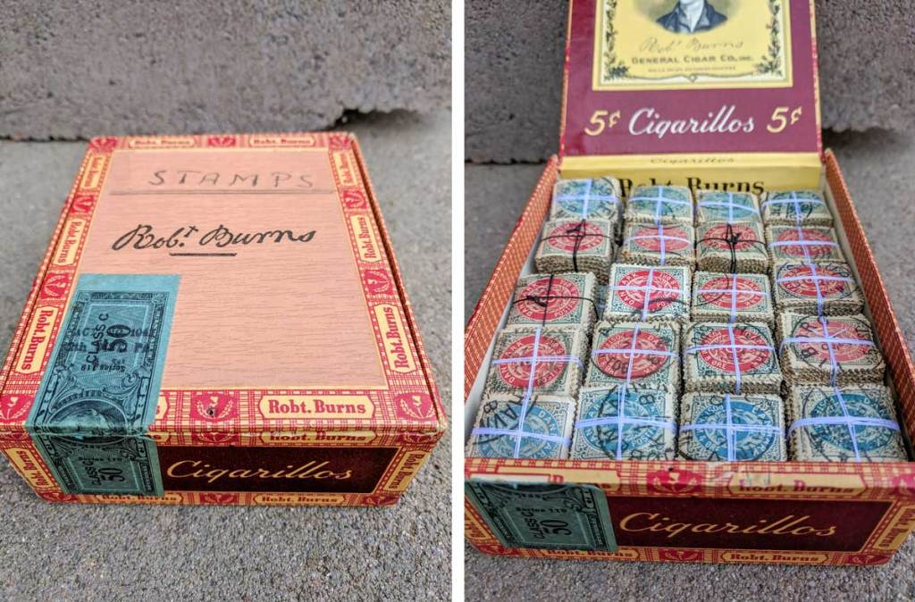 stamp bundles in a cigar box