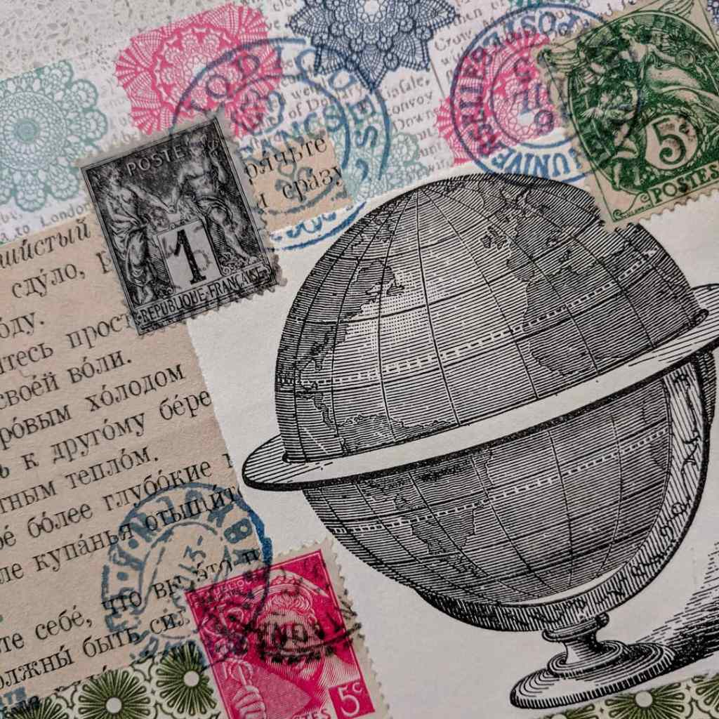 A collage made with pen-ink illustration, text, and postage stamps