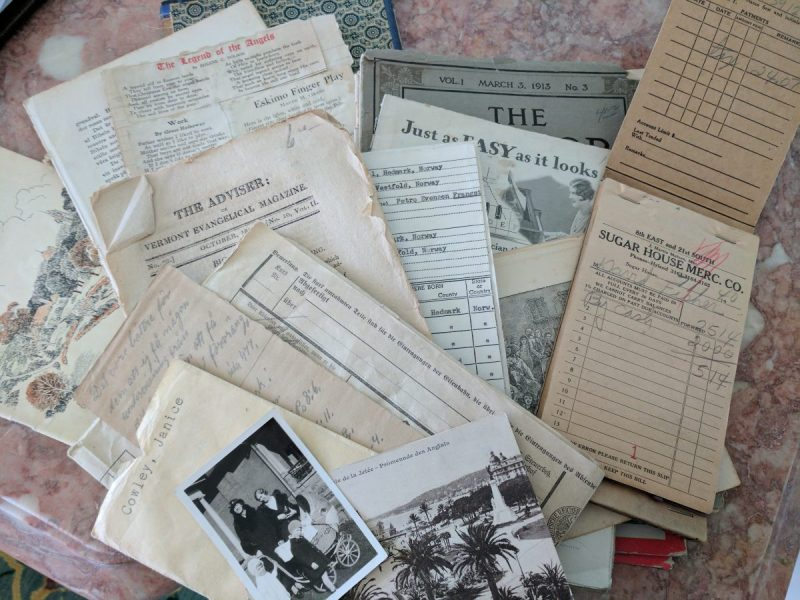 a scattered group of vintage papers
