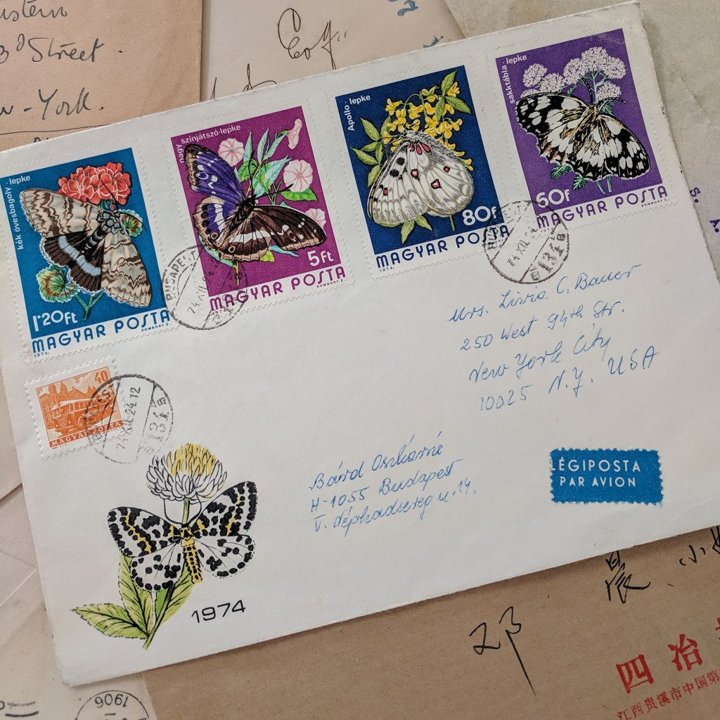 An envelope decorated with large insect stamps from Hungary