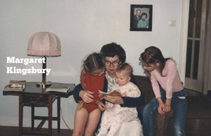 Baby Margaret reading with her grandmother and sisters