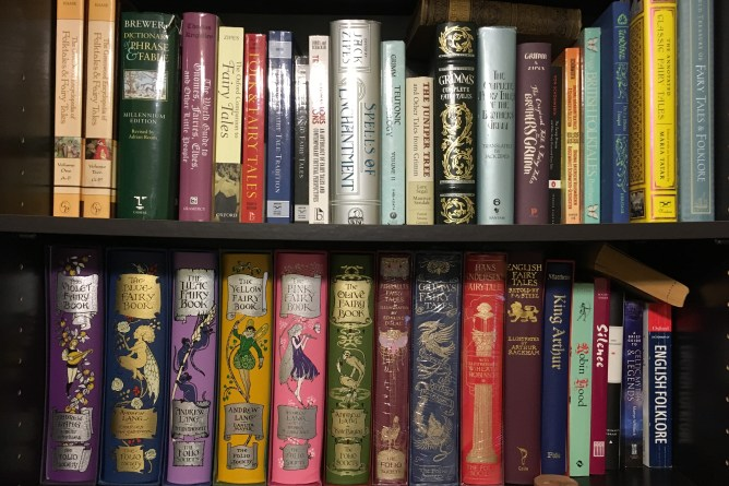 Shelves of fairy tale books.