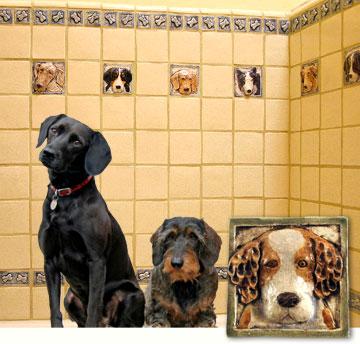 blue kitchen backsplash tile distressed island dog bath and shower