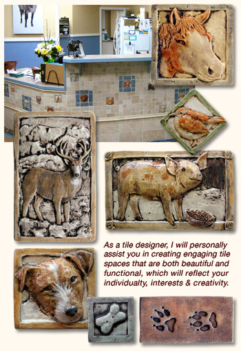 Decorative Ceramic Relief Animal Art Tile For Kitchen