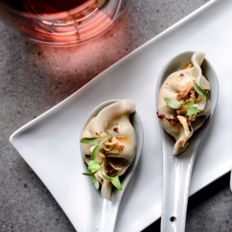 cod dumplings served with chilli black bean sauce | image by foraged photography. for má là margaret river dumplings