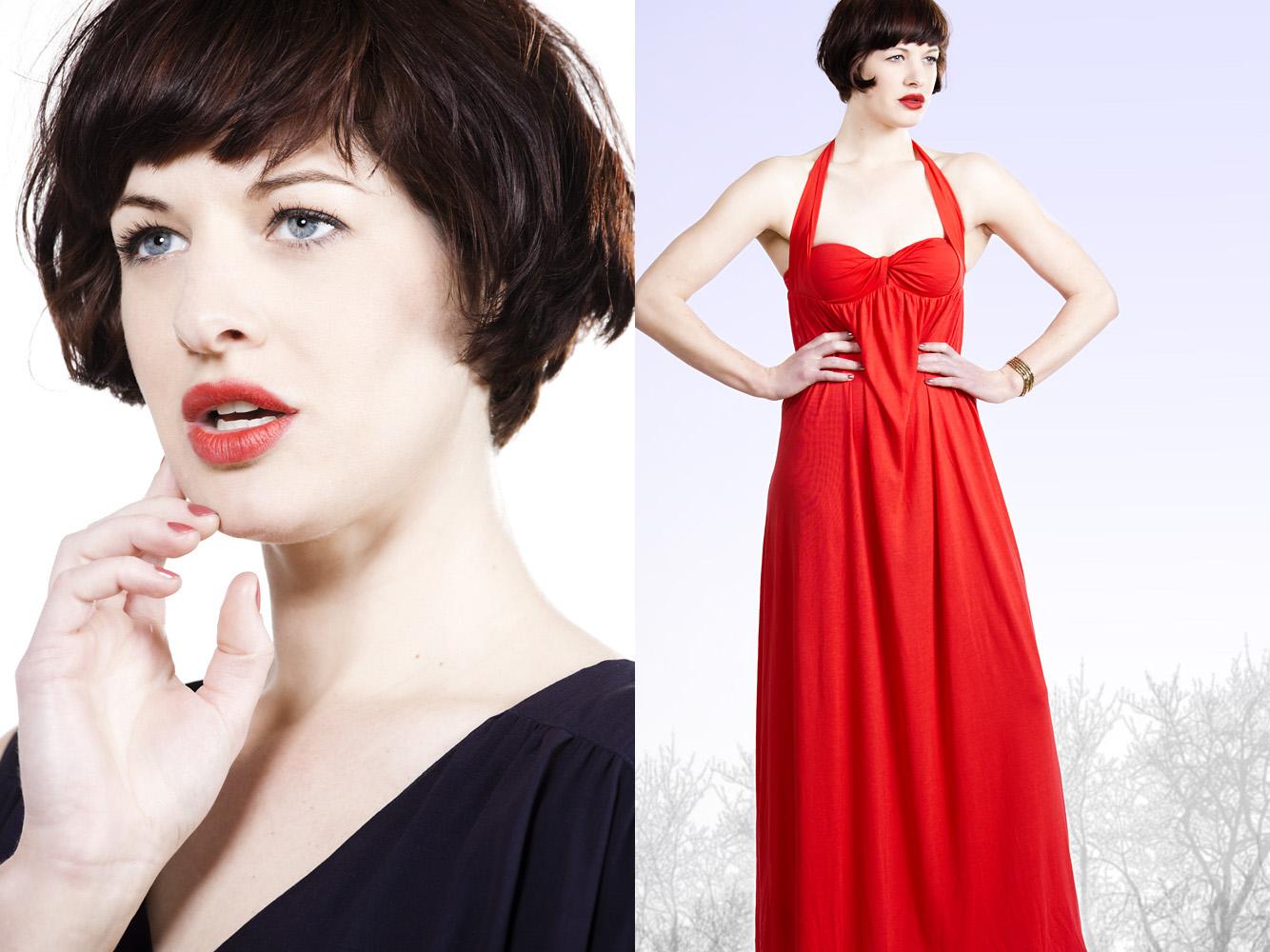 Photo by Margaret Yescombe, Advertising photographer london, studio photo-shoot, pale model, dark short hair, red lipstick, red dress
