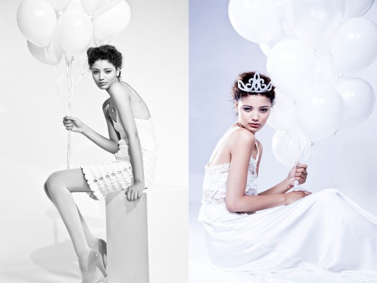 Photo: Fashion campaign photographer london Margaret Yescombe, All White fashion story, model Sana from Models 1, white balloons, tiara, party, etherial, perfume advert imagery