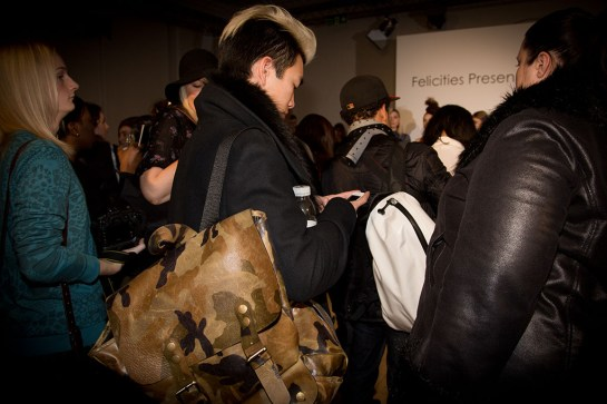 LFW Somerset House - Felicities PR Presents : Fashion Designers - fashion crowd bloggers onlookers - hair bag