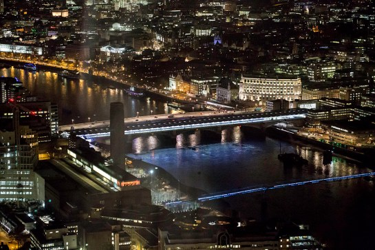 Photo: view looking up at the very top of The Shard, London, at night. Photographer: Maggie Yescombe