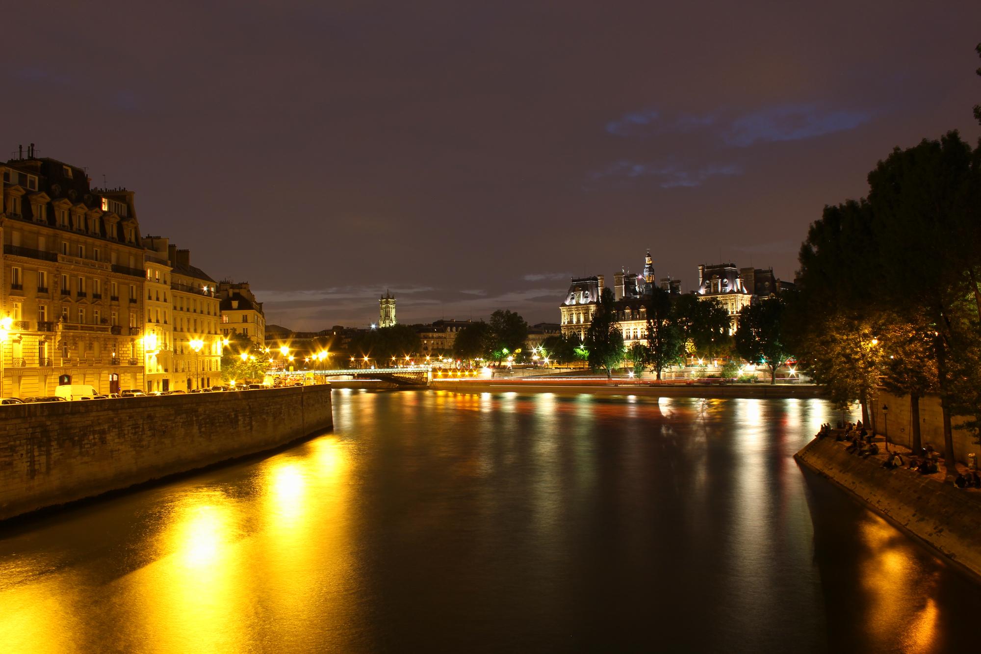 The Seine at night in Paris