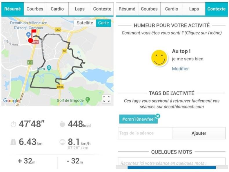 visuel de l'application decathlon coach lors de son utilisation pendant le challenge de marche nordique