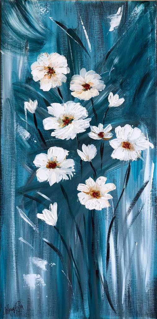 "For Sale - Abstract White Poppies - 10x20"" stretched canvas https://squ.re/2xlAEDT"
