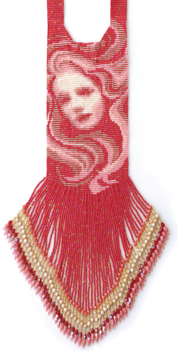 """""""The Glamour"""" from the technique and pattern book Beading Her Image by Margie Deeb which features patterns for peyote, brick, square stitch, and loomwork. Design by Margie Deeb; loomwork by Frieda Bates."""