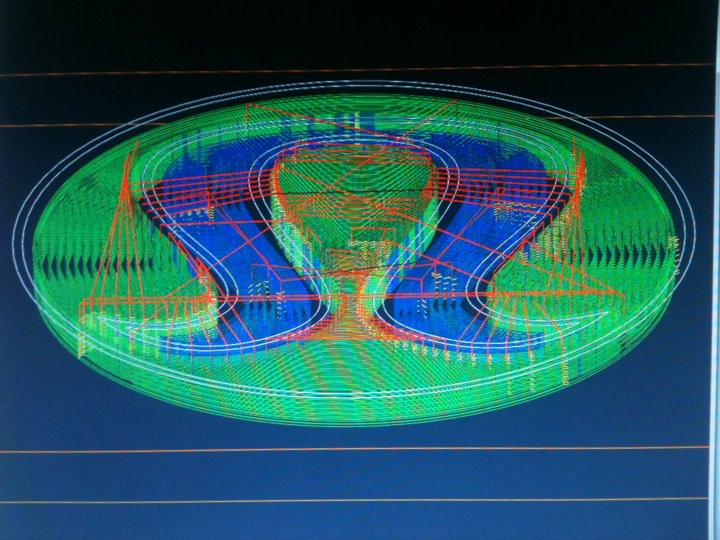 Computer model of where the 3-axis CNC router will move to cut the shape