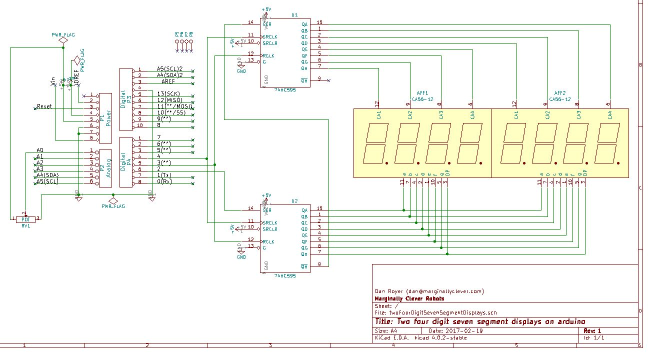 Shift Registers And Seven Segment Displays In Arduino Marginally 7 Clock Circuit Diagram Two
