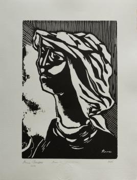 Anna Broussous - Autoportrait - gravure sur bois 297 x 210 cm