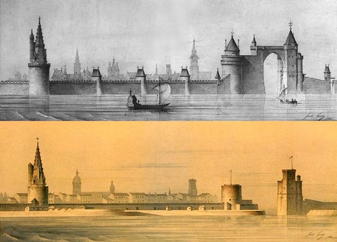 Les Tours de La Rochelle - Par Montage d'après deux dessins de Juste Lisch par Gilbertus — Inventaire général, Domaine public