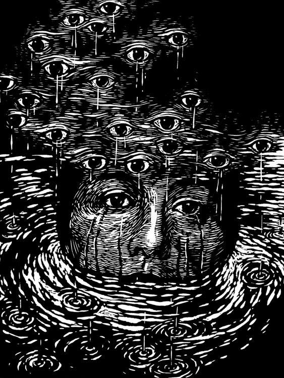 Iris Mirnada Nature humaine I, gravure sur bois, 30 x 40 cm, 2021