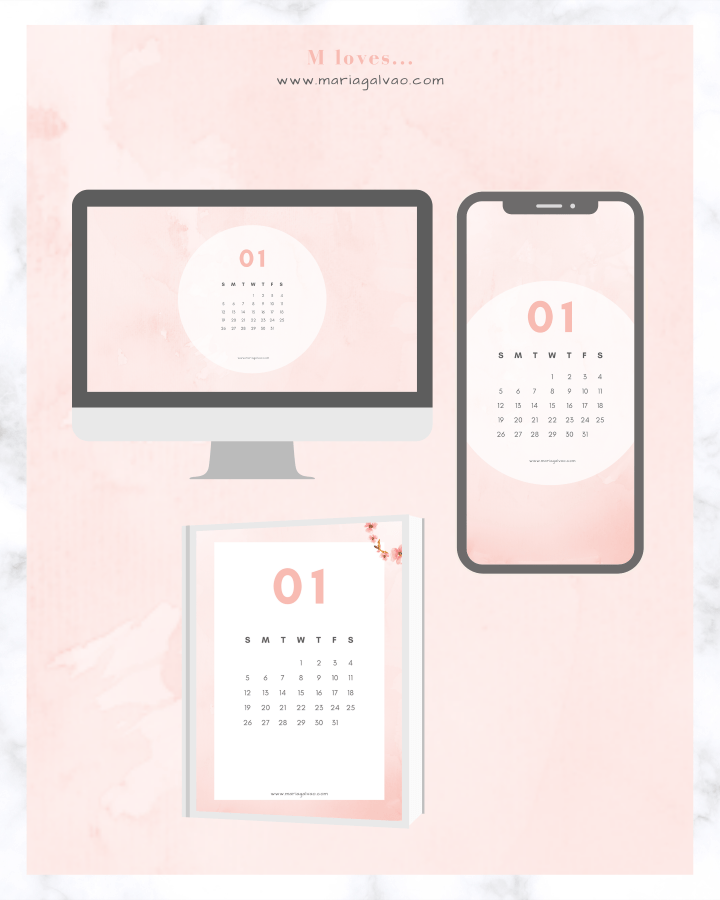 Free January 2020 calendar and wallpapers for desktop and cellphone
