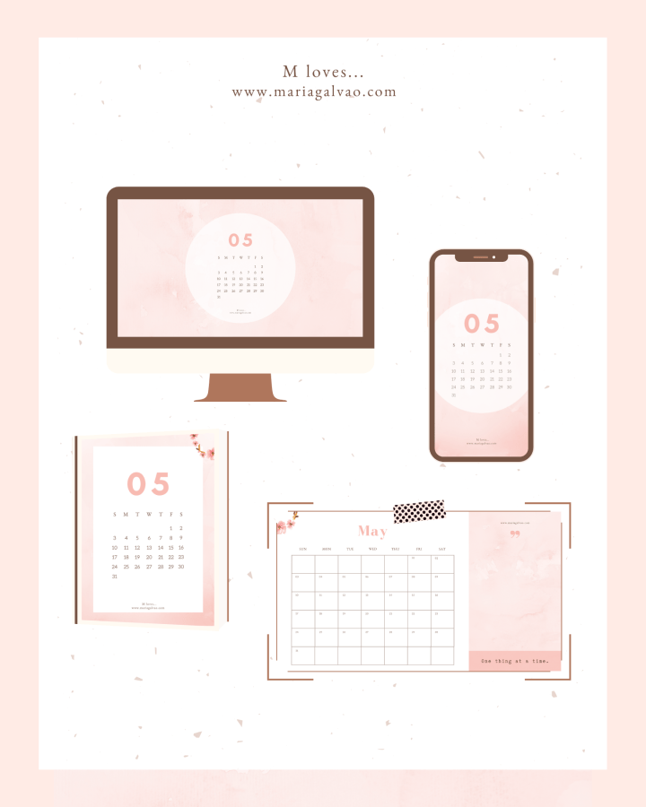 Free May 2020 calendars and wallpapers for desktop and cellphone