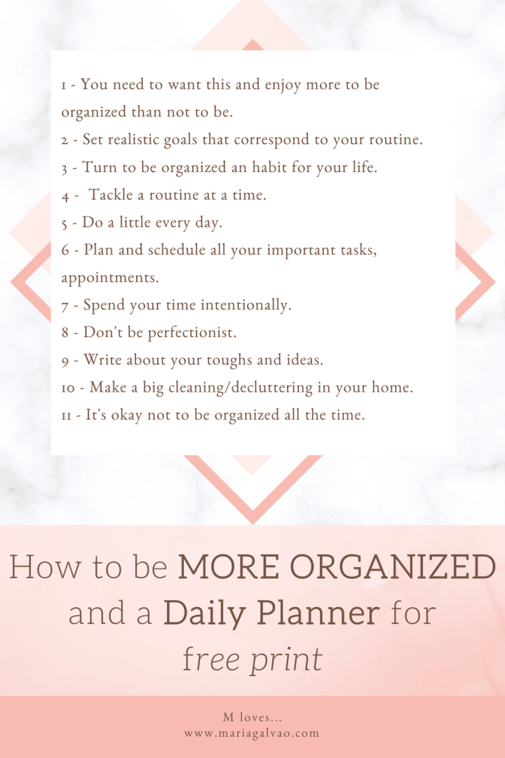 How to be more organized and daily planner for free print