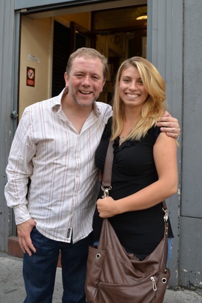 Mariah June at the stage door after the play Spamalot in West End, London, England, in 2012 with actor Jon Culshaw