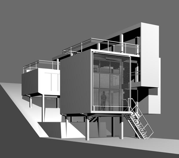 Viviendas de estadía corta para científicos de la Isla Borracha. Proyecto de Tesis. Universidad Central de Venezuela. La isla está compuesta por dos formaciones rocosas que se unen a través de un itsmo. Allí, se emplaza el conjunto, para concentrar actividades y causar el menor impacto posible. Las viviendas ocupan los extremos del itsmo, dejando el área central como una gran zona verde donde puntualmente existen edificios de equipamiento. Hay dos tipologías de viviendas: Para terrenos en pendiente y para las áreas de topografía plana. Las células habitacionales, al unirse entre sí, forman patios de manzana, buscando equilibrar la densidad entre llenos y vacíos. En estas viviendas, las cubiertas cobran un valor fundamental, pues son utilizadas por los científicos como espacio de trabajo para la observación de las espécies de la isla, el águila pescadora y la ballena jorobada. El uso de las variables climáticas propias del trópico, es fundamental para decidir los parámetros de diseño arquitectónico. Luz, sombra, ventilación natural.
