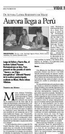 """EL periódico Tiempos del Mundo de Miami reseña la presentación de """"Aurora y sus Viajes Intergalácticos"""" en Perú (jueves 29 de enero de 2004)"""